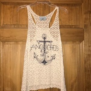 Judith March graphic lace tank